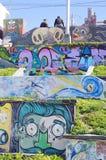 Graffiti op de gebouwen en de muren van Tijuana Beach Stock Foto