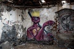 Graffiti op de muur Stock Foto