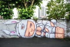 Graffiti op de muur in het Creatieve Park van Huashan Royalty-vrije Stock Fotografie