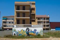 Graffiti op de muur, Proto Cristo, Majorca Stock Afbeeldingen