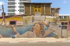Graffiti op de straten van Tel Aviv Stock Foto