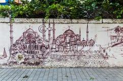 Graffiti op een muur in Istanboel Stock Afbeeldingen