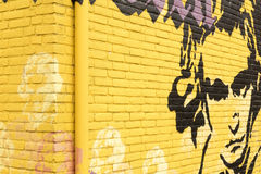 Graffiti op een muur met een portret van Ludwig van Beethoven Royalty-vrije Stock Foto's