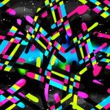 Graffiti op een zwarte textuur van het achtergrond abstracte kleuren naadloze patroon grunge Stock Afbeeldingen