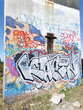 Graffiti op observatietoren Stock Afbeeldingen