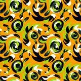 Graffiti on an orange background. Tribal striped seamless pattern Stock Photography