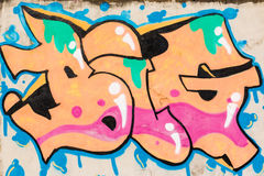 Graffiti of orange, pink, green and blue texture BIG on the wall Royalty Free Stock Photography