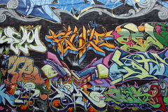 Graffiti. Painted graffiti on a building wall in Montreal, Quebec Royalty Free Stock Photos