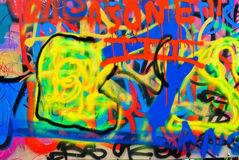 Graffiti painting. Colourful graffiti painting with blue, yellow and red Stock Photography
