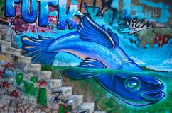 Graffiti painting of fish Stock Photography