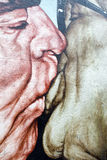 Graffiti painting of kissing Brezhnev and Honecker at East side Royalty Free Stock Photo