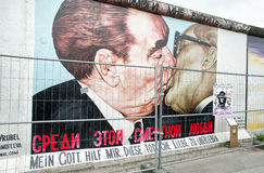 Graffiti painting of kissing Brezhnev and Honecker at East side Stock Photography