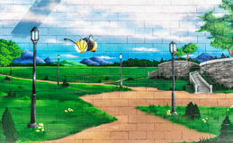 Graffiti park scene Stock Photo