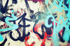 Graffiti patterns over old urban concrete wal Royalty Free Stock Photos