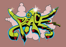 Graffiti Peace. Abstract multi colored graffiti design with text peace Royalty Free Stock Photo
