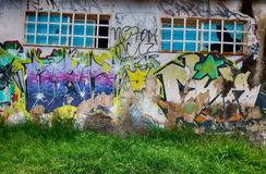 Graffiti, Photographed on the outskirts of Brazilian Brazil. Graffiti, graphite or graphite from the Italian graffiti, plural of graffito is the name given to Stock Photo