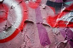 Graffiti on the pink wall. With other color line. Cool graffiti art Royalty Free Stock Image