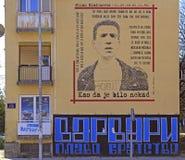 Graffiti poświęcać sławny serbian muzyk Mediolański Mladenovic plenerowy Fotografia Stock