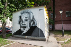Graffiti portrait of Albert Einstein Stock Photo