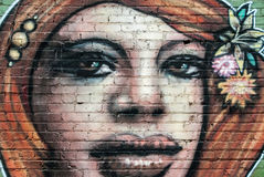 Graffiti Portrait of Girl on Wall Royalty Free Stock Image