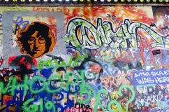 Graffiti and portrait of John Lennon Royalty Free Stock Image