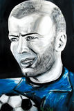 Graffiti portrait of Zinedine Zidane Stock Image