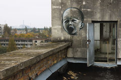 Graffiti in Pripyat. Stock Photo
