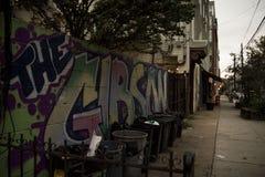 Graffiti przy półmrokiem Brooklyn nowy York Zdjęcie Stock