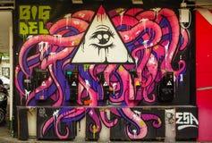 Graffiti on public phone wall Royalty Free Stock Photography