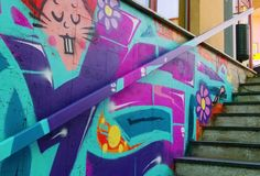 Graffiti railing wall Royalty Free Stock Photo