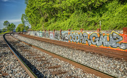 Graffiti on the Railroad Tracks Royalty Free Stock Image