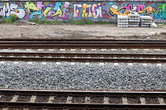 Graffiti on the railway. Royalty Free Stock Photography