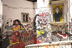 Graffiti representation of typical Portuguese Fado Royalty Free Stock Photography