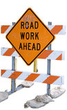 Graffiti road work. Road work sign with graffiti on it isolated on a white background Stock Images