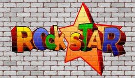 Graffiti rock star on the wall Stock Photography
