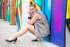 Graffiti rudzielec chodniczka model zdjęcia royalty free
