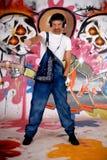 graffiti słuchawki mężczyzna ściana zdjęcia stock