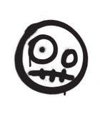 Graffiti scary emoji sprayed in black over white Stock Image