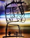 Graffiti sconosciuti delle labbra del fronte astratto grandi Immagine Stock