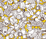 Graffiti seamless pattern for adult coloring book Stock Image