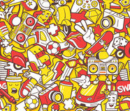 Graffiti seamless pattern with line icons collage Royalty Free Stock Image