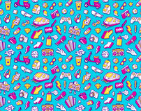 Graffiti seamless pattern with line icons collage. Graffiti seamless pattern with urban lifestyle line icons. Crazy doodle seamless abstract background. Trendy Royalty Free Stock Photos