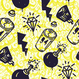 Graffiti seamless pattern. Original urban youth subculture seamless patterns, repeating image for using pattern on any items, T-shirts, wallpaper, curtains Stock Image