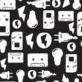 Graffiti seamless pattern. Universal vector fashion graffiti seamless pattern. Hand drawing repeated electrician instrument, design elements in black, white Royalty Free Stock Photo