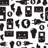 Graffiti seamless pattern. Universal vector fashion graffiti seamless pattern. Hand drawing repeated electrician instrument, design elements in black, white Stock Image
