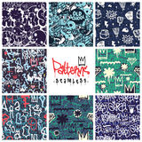 Graffiti seamless patterns set. Big set of seamless patterns, graffiti style, king of style. Original youth seamless patterns, repeating image for using pattern Royalty Free Stock Photography