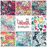 Graffiti seamless patterns set Royalty Free Stock Photography