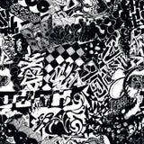 Graffiti senza cuciture in bianco e nero del modello, bombardamento dell'autoadesivo Fotografia Stock