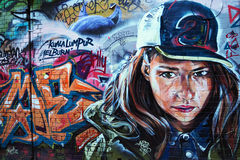 Graffiti - Seriously Looking Woman Royalty Free Stock Image