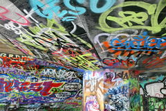Graffiti. In a skateboard park on the south bank in London royalty free stock image